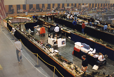 Overhead view of the large multi-cllub layout set up in Port Huron, Michigan